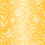 Vector seamless pattern of mixed exotic fruits.  stock illustration
