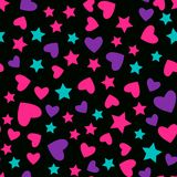 Vector Seamless pattern. Modern Bright design for kids girls. Abstract hearts and star on a black background. vector illustration
