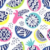 Vector seamless pattern of modern geometric fruits. Exotic summer background. Original hand drawn illustration. Healthy. Vegetarian food. Lifestyle. Trendy 80 Stock Photos