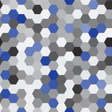 Vector seamless pattern. Modern Stylish Texture. Repeating Hexagon Geometric Background. Black, Grey and Blue Colors.  Stock Photography