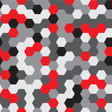 Vector seamless pattern. Modern Stylish Texture. Repeating Hexagon Geometric Background. Black, Grey and Red Colors Stock Photo
