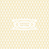 Vector seamless pattern with mono line style label. In golden colors Royalty Free Stock Photos