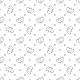 Vector seamless pattern of monochrome flowers may lily in Scandinavian style hand drawn on a white background. Cartoon style Use f. Or backgrounds, textiles vector illustration