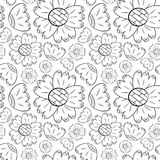 Vector seamless pattern of monochrome flowers may lily and sunflowers in Scandinavian style hand drawn on a white background. Use. For backgrounds, textiles vector illustration