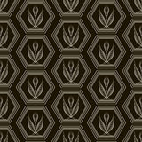 Vector seamless pattern monochrome ornament with stylized geomet Stock Image