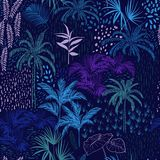 Vector seamless pattern of monotone blue forest for summer tropi Royalty Free Stock Images