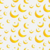 Vector Seamless Pattern with Moons and Stars, Pastel Colors. vector illustration