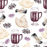 Vector seamless pattern of mulled wine ingredients. Hand drawn vintage elements. Glass, orange, cinnamon, anise. Stock Photo