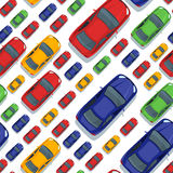 Vector seamless pattern with multi sized red cars. Royalty Free Stock Photos
