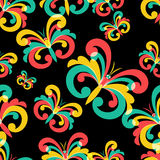 Vector seamless pattern with multicolor butterflies on black background. Abstract background.  Royalty Free Stock Photos