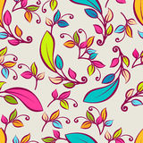 Vector seamless pattern with multicolor decorative leaves. Vecto Royalty Free Stock Image