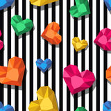Vector seamless pattern. Multicolor jewel, gems in heart shape on black white stripes. Royalty Free Stock Image