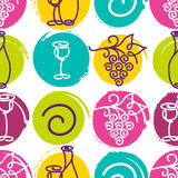 Vector seamless pattern with multicolor wine bottle, glass and g Royalty Free Stock Photo