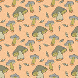 Vector seamless pattern of mushroom Royalty Free Stock Images