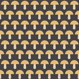 Vector seamless pattern with mushrooms on the gray background. Autumn ornament Royalty Free Stock Photos