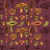 Vector seamless pattern with mushrooms and leaves. Stock Photography