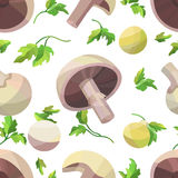 Vector seamless pattern with mushrooms and parsley. On white field Royalty Free Stock Photography