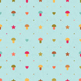 Vector seamless pattern with mushrooms, stars and. Vector seamless blue pattern with mushrooms, stars and hearts Stock Photos