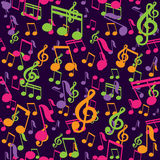 Vector seamless pattern with music notes Stock Images