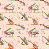 Vector seamless pattern with Musical instruments Royalty Free Stock Photos