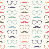 Vector seamless pattern of mustache and glasses Royalty Free Stock Image