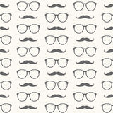 Vector seamless pattern of mustache and glasses Royalty Free Stock Photography