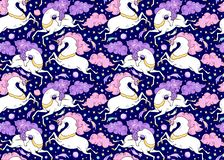 Vector seamless pattern with mythical animals. Galloping cute white unicorns with golden horn, pink, violet mane, tail. royalty free illustration