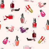 Vector seamless pattern with nail polish. Drawing vector illustration with nail polish and splash paint. Seamless pattern Stock Images