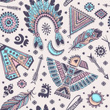 Vector seamless pattern with native American Stock Photos