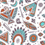 Vector seamless pattern with native American Royalty Free Stock Photos