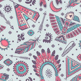 Vector seamless pattern with native American Stock Images