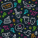 Vector seamless pattern with neon doodles of hearts, flowers, bo. Cute seamless pattern with neon doodles of hearts, flowers, bows, stars, gifts, envelopes and Royalty Free Stock Image