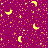 Vector seamless pattern, night star background. Royalty Free Stock Photo