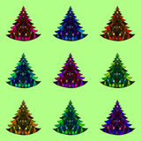 Vector seamless pattern of nine Christmas trees Royalty Free Stock Photos