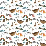 Vector seamless pattern with Noah`s Ark concept. Bible story for kids, cartoon  ornament Stock Photos
