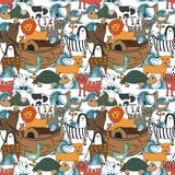 Vector seamless pattern with Noah`s Ark concept. Bible story for kids, cartoon  ornament Royalty Free Stock Image