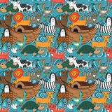 Vector seamless pattern with Noah`s Ark concept. Bible story for kids, cartoon  ornament Stock Photo