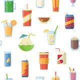 Vector seamless pattern with non alcoholic drinks. Vector illustrations Royalty Free Stock Image