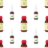 Vector seamless pattern of nose spray, cough remedy. Cartoon flat style. Vector seamless pattern of nose spray, cough remedy. Medicine, pharmacy for flu, cold Royalty Free Stock Photography