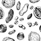 Vector seamless pattern with nuts an coffee Royalty Free Stock Photos