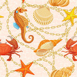 Vector seamless pattern with ocean elements. Vector seamless pattern with fishes, corrals, shells, seaweeds, sea-horse and other underwater creatures. Ocean Stock Images