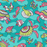 Vector seamless pattern with  ocean turtles, fish and inhabitants of the underwater world. Blue ethnic hand drawn fabric design Royalty Free Stock Photo