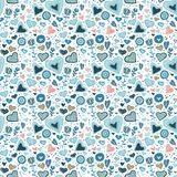 Vector Seamless Pattern Of Colorful Flowers Royalty Free Stock Photos