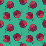Vector Seamless Pattern Of Watercolor Red Apple With Black Hand-drawn Elements. On Contrast Blue Background. Grouped And Stock Photography