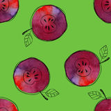 Vector Seamless Pattern Of Watercolor Red Apple With Black Hand-drawn Elements. On Contrast Green Background. Grouped Royalty Free Stock Photo