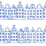 Vector seamless pattern with old european hand drawn houses, Building sketchy line art isolated on white background Royalty Free Stock Photos