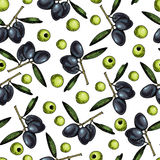 Vector seamless pattern of olive. Hand drawn colored engraved art. Healthy beauty hair nutrition. royalty free illustration