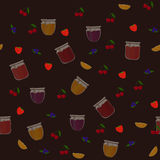 Vector seamless pattern with orange, blueberry, strawberry and cherry jams Stock Photo