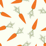 Vector seamless pattern with orange carrots on white background. Vegetable summer pattern, colorful print for design. Royalty Free Stock Photography