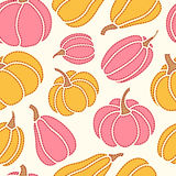 Vector seamless pattern with orange and pink  pumpkins Royalty Free Stock Photography